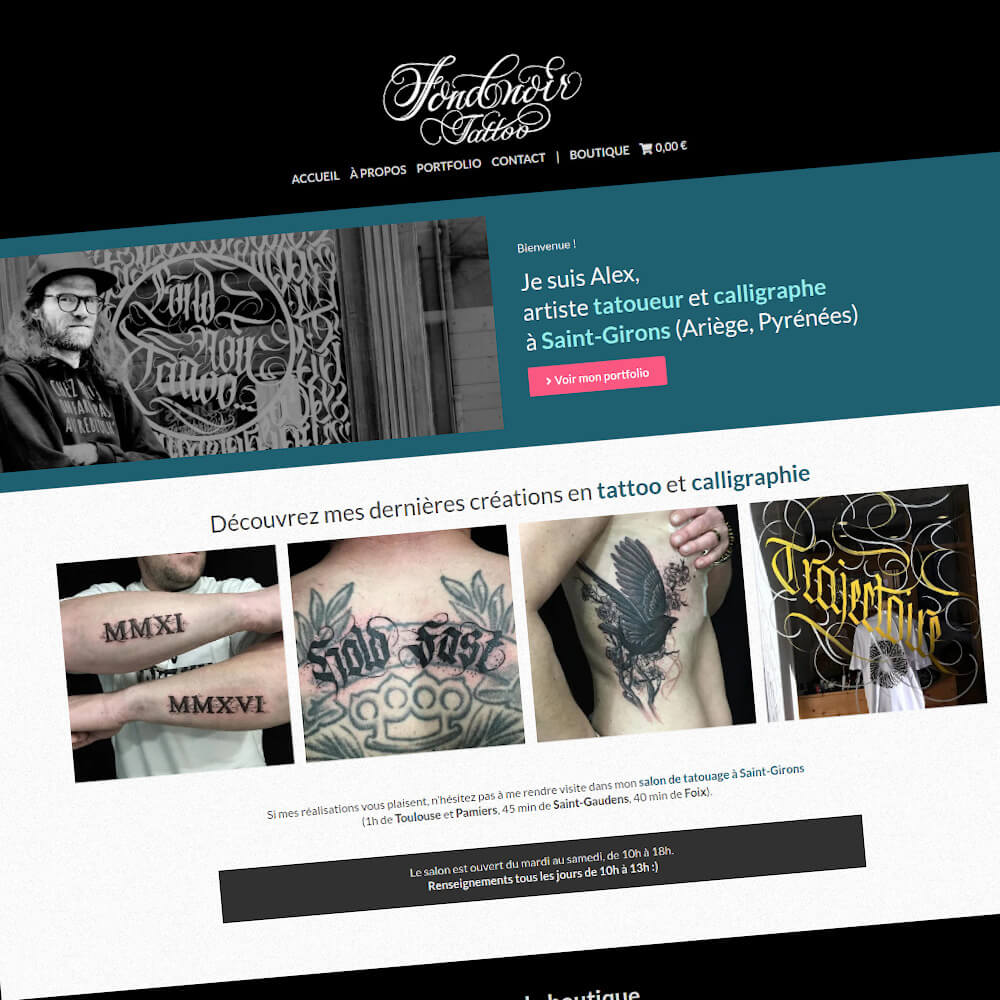 Fond Noir Tattoo : Refonte du site Internet portfolio & e-commerce